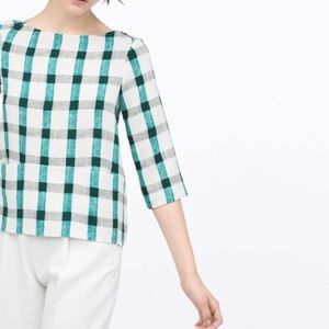 { zara } green & white plaid front pockets top